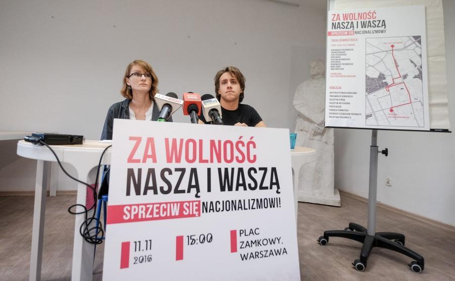 Weronika Samolińska z partii Razem oraz Michał Szymanderski-Pastryk