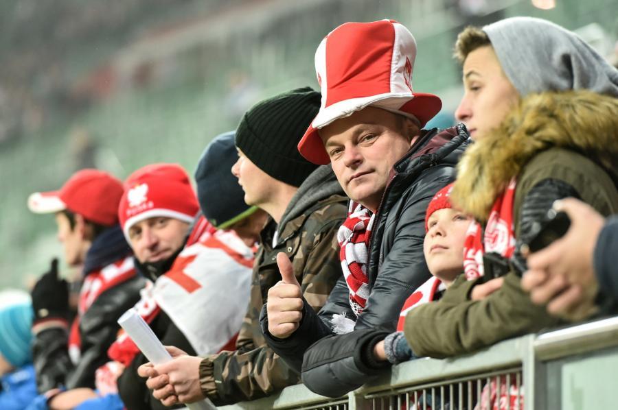 Kibice na trybunach przed meczem towarzyskim Polska - Słowenia