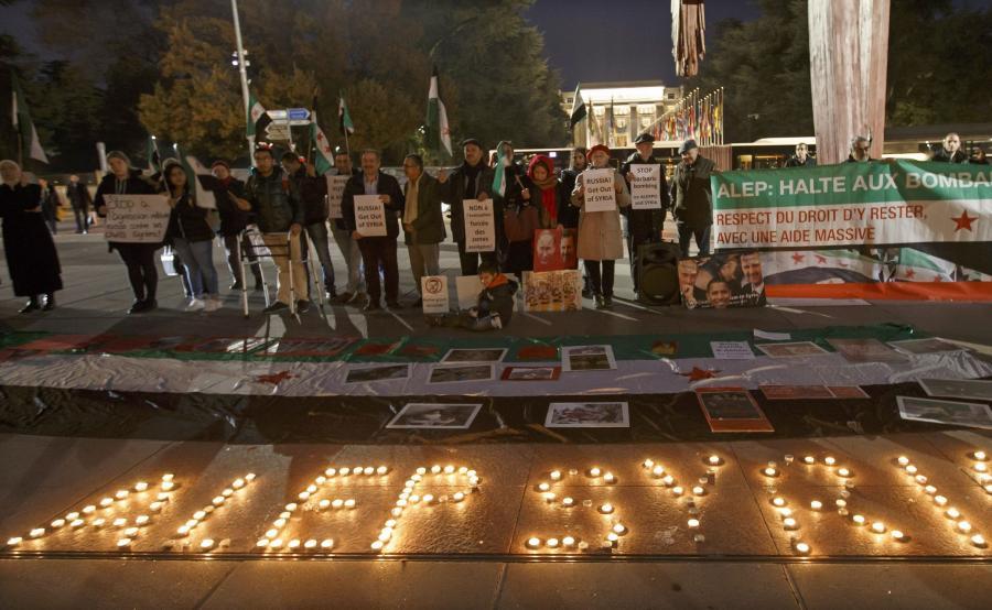 Protesty przeciw bombardowaniu Aleppo
