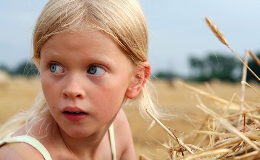 Dziewczyna na polu. Polska wieś